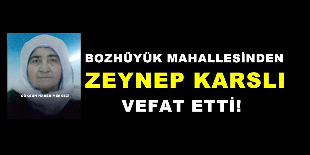 Bozhüyük Mahallesinden Zeynep Karslı vefat etti!